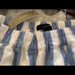 J Crew blue white striped linen pants, size 6, NWT